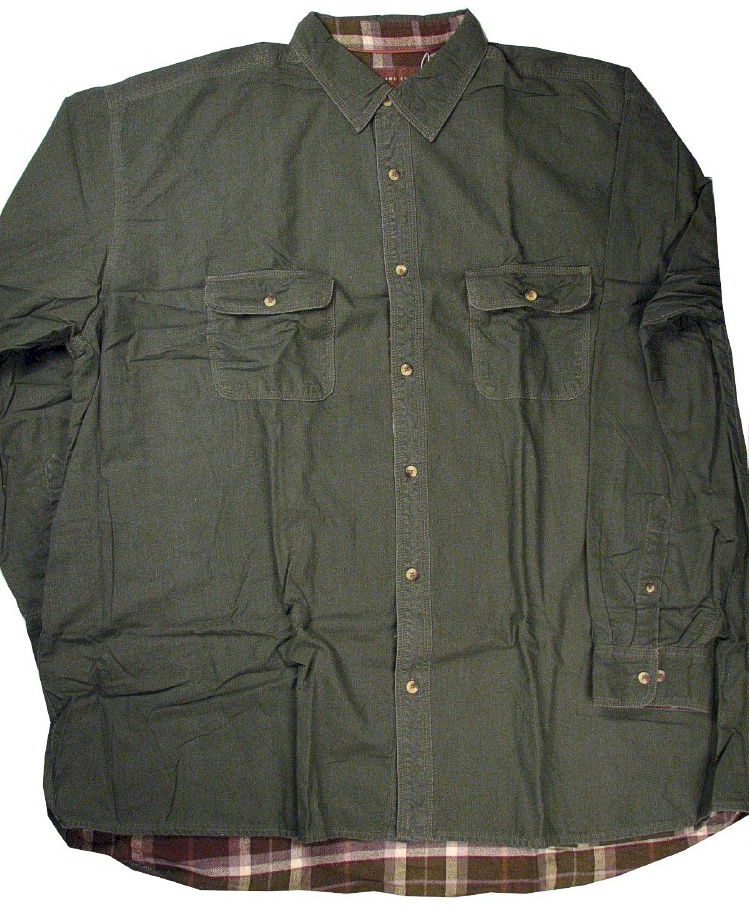 #004987. 3XL TALL. OLIVE Retail $  55.00 Long Sleeve Flannel by WOOD LAND TRAIL. FLANNEL LINED 2-POCKT Whs A:  1