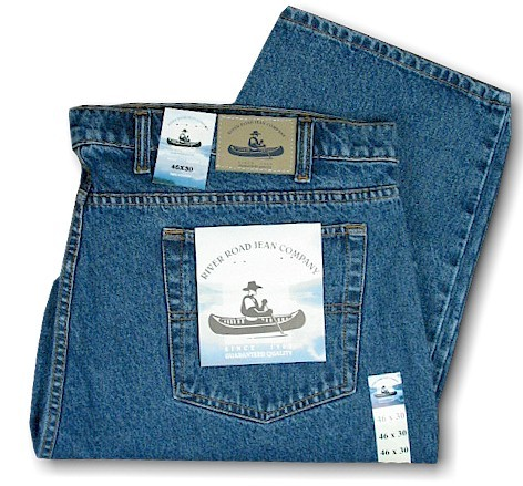 #057583. 52 34. BLUE Retail $  49.00 Cotton Jean by GRAND RIVER. DENIM RELAXED JEAN <font face=arial size=2><BR>Special Order Item.</font> <B>Item stocked by River Road.  Allow an extra 5 days for handling.</B>