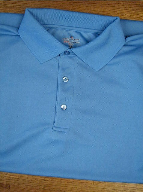 #148333. XL TALL. BLUE Retail $  36.00 Dri Power Polo by RUSSELL. DRI-POWER SOLID POLO Whs A:  2