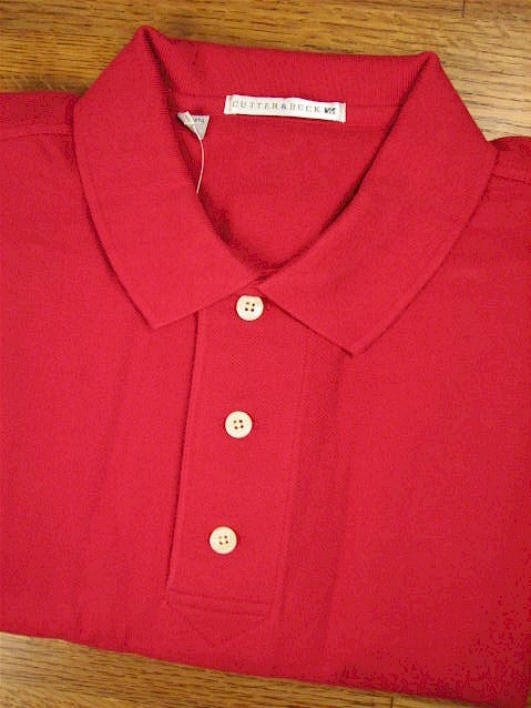 #090841. 2XL BIG. RED Retail $  49.00 Short Sleeve Luxury by CUTTER BUCK. TOURNAMENT POLO <font face=arial size=2><BR>Special Order Item.</font> <B>Item stocked by Manufacturer.  Allow up to 3 weeks for delivery.</B>
