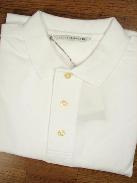 #257451. 5XL BIG. WHITE Retail $  49.00 Short Sleeve Luxury by CUTTER BUCK. TOURNAMENT POLO <font face=arial size=2><BR>Special Order Item.</font> <B>Item stocked by Manufacturer.  Allow up to 3 weeks for delivery.</B>