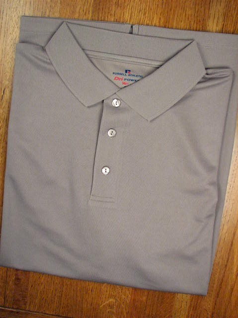 #237907. XL TALL. CHARCOAL Retail $  36.00 Dri Power Polo by RUSSELL. DRI-POWER SOLID POLO Whs A:  3