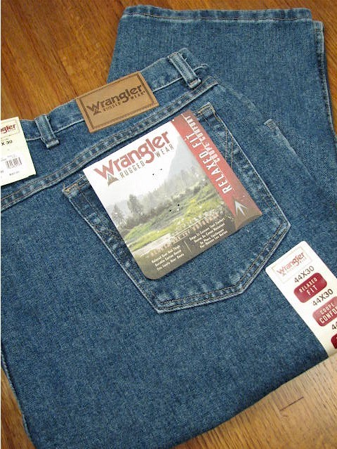 #056515. 52 34. INDIGO Retail $  46.00 Cotton Jean by WRANGLER. RELAXED FIT JEAN Whs A:  4 FW:  1 <BR><font size=2><b>Incl units held @ mfg.