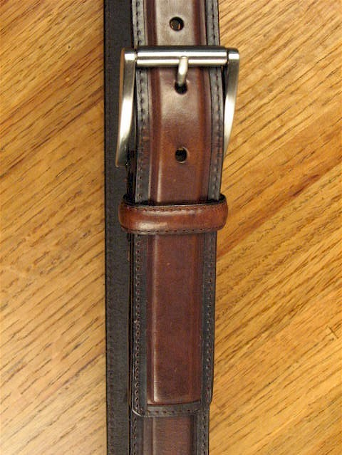 #295042. 60 . BROWN Retail $  44.00 Belts by OUTFITTER. 1 1/2 DRESS SATIN BKL Whs A:  1