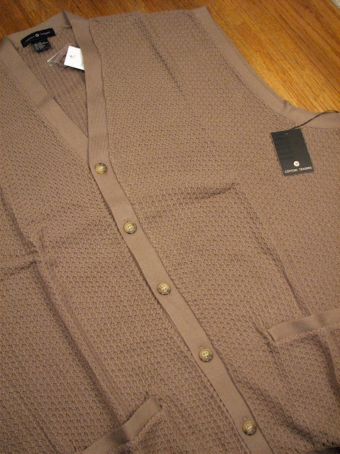 #068918. 3XL TALL. MOCHA Retail $  55.00 Sweaters by CTTON TRADERS. CARDIGAN VEST TEXTURE Whs B:  1