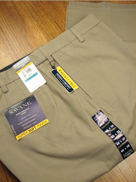 #066394. 48 28. KHAKI Retail $  75.00 Cotton Casual Pants by SAVANE. FLAT FRT EXPAND WAIST Whs A:  5 FW:  2