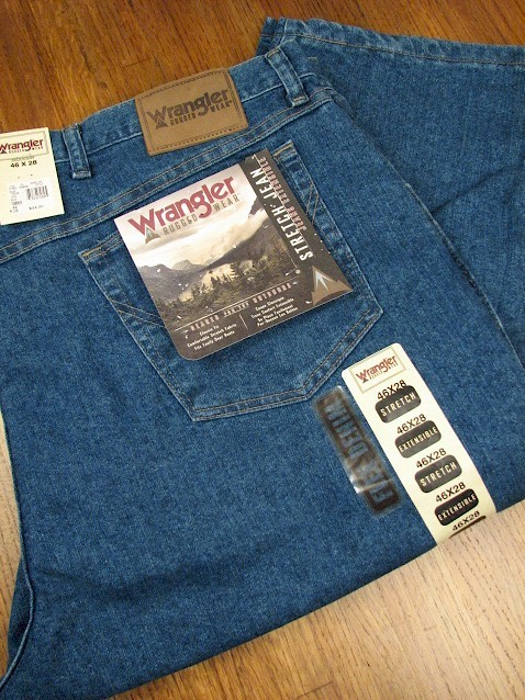 #035059. 60 28. BLUE Retail $  48.00 Stretch Jean by WRANGLER. RELAXED FIT STRETCH <font face=arial size=2><BR>Special Order Item.</font> <B>Item stocked by Wrangler.  Allow 2 weeks for delivery.</B>