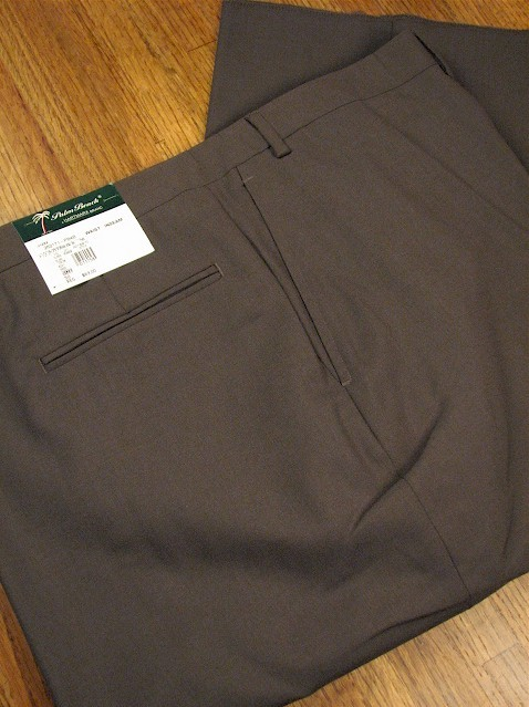 #137227. 52 REG. OLIVE Retail $  69.00 Dress Pants by PALM BEACH TROUSER. PLAIN WORLD CLASS Whs A:  5   <br><b>This item requires hemming.