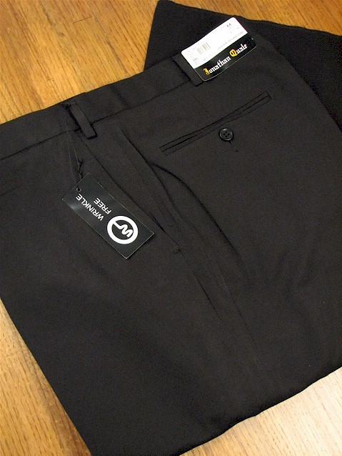 #184593. 58 REG. BLACK Retail $  69.00 Dress Pants by JONATHAN QUALE. EXPANDER GAB PLAIN Whs B:  1   <br><b>This item requires hemming.