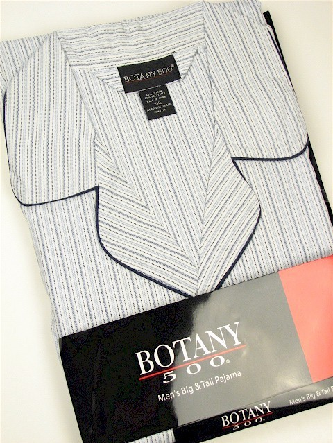 #354392. 2XL TALL. NAVY Retail $  34.00 Pajamas by BOTANY 500. LONG SLV PANT STRIPE Whs A:  2 FW:  1