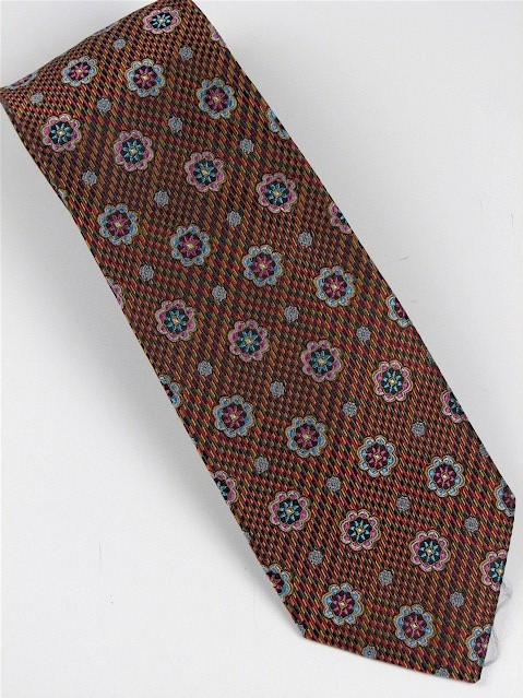 #212056.  . COPPER Retail $  46.00 Extra Long Ties by BRUNO PIATTELLI. JACQUARD XL FLOWERS FW:  1
