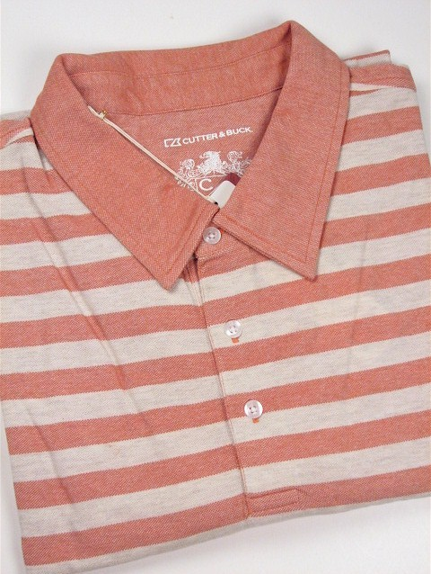#000392. 3XL BIG. CANTALOP Retail $  95.00 Short Sleeve Luxury by CUTTER BUCK. OXFORD STRIPE POLO Whs A:  1