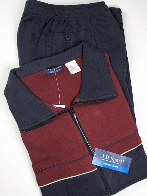 #083740. 2XL TALL. BURGUNDY Retail $  90.00 Jog Set by LD SPORT. COT/PLY JOG SUIT PIPG Whs A:  2