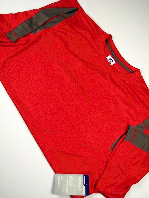#141581. 3XL BIG. RED/GREY Retail $  34.00 Dri Power Crew by RUSSELL. DRI-POWER PCD CREW Whs A:  1