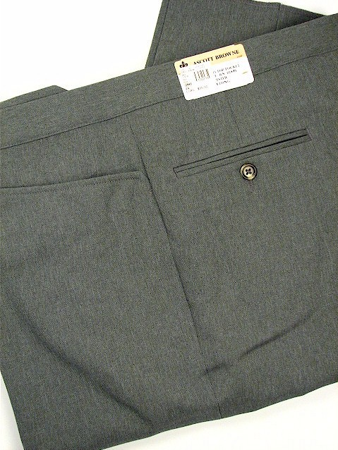 #266143. 60 REG. GREY Retail $  95.00 Dress Pants by ASCOTT BROWNE. BELT-LESS PLY TOP PKT FW:  1,  <br><b>This item requires hemming.