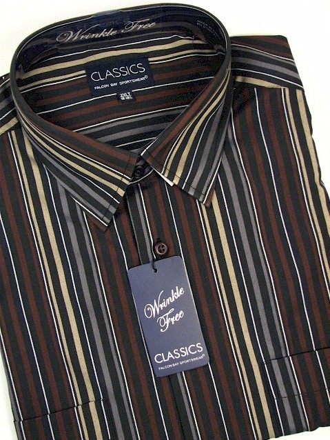 #274984. 2XL BIG. BLACK Retail $  39.00 Long Sleeve 2-pkt by FALCON BAY. 2-POCKET TWILL STRIPE Whs A:  2