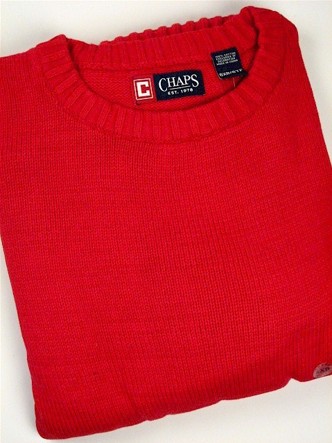 #149631. 3XL TALL. RED Retail $  72.00 Sweaters by CHAPS. COTTON CREW NECK Whs A:  1