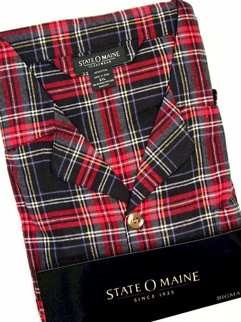 #114893. 2XL BIG. BLACK Retail $  45.00 Pajamas by STATE-O-MAINE. FLANNEL PLAID PAJAMA Whs A:  2