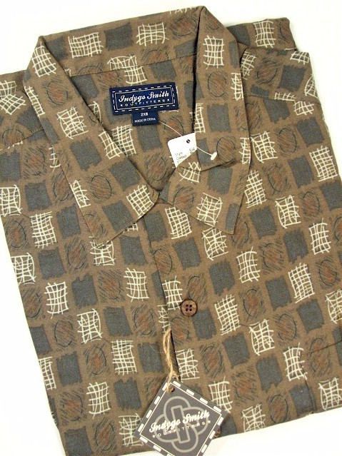 #247681. 4XL TALL. BROWN Retail $  72.00 Short Sleeve Tropical by INDYGO SMITH. GEOMETRIC PRINT Whs A:  2