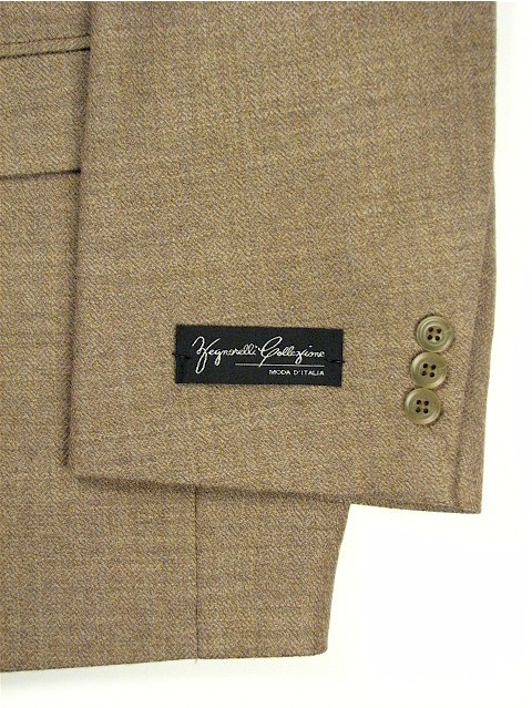 #106045. 54 P-LG. TAN Retail $ 229.00 Sportcoats by ZEGNORELLI. SOLID HERRINGBONE SB <font face=arial size=2><BR>Special Order Item.</font> <B>Item stocked by Manufacturer.  Allow up to 3 weeks for delivery.</B>