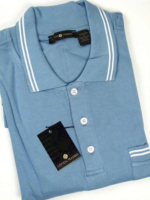 #159470. 2XL TALL. BLUE Retail $  45.00 Short Sleeve Pocket by CTTON TRADERS. INTERLOCK W/TIPPING Whs A:  1