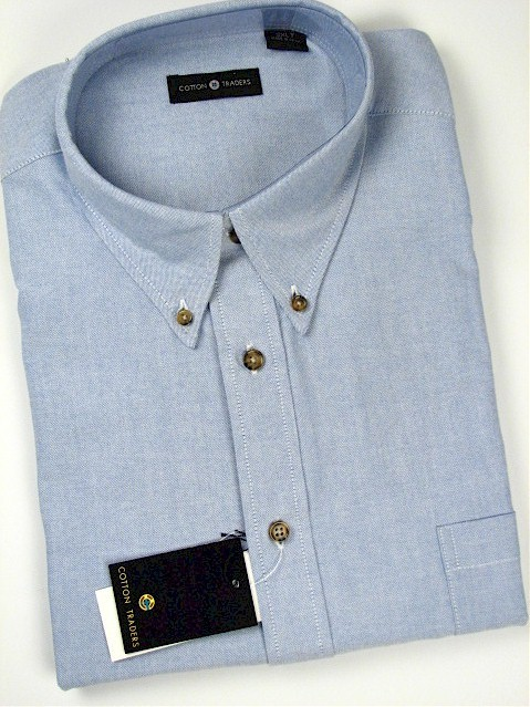 #331054. 4XL TALL. BLUE Retail $  46.00 Short Sleeve by CTTON TRADERS. SOLID OXFORD B.D. Whs:  1,