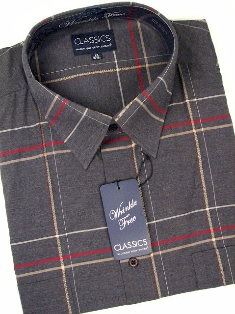 #185970. 2XL BIG. CHARCOAL Retail $  39.00 Long Sleeve 2-pkt by FALCON BAY. 2-POCKET WINDOWPANE Whs A:  2