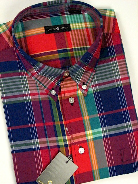#076652. 4XL BIG. RED Retail $  48.00 Short Sleeve by CTTON TRADERS. EASY CARE PLAID Whs A:  1