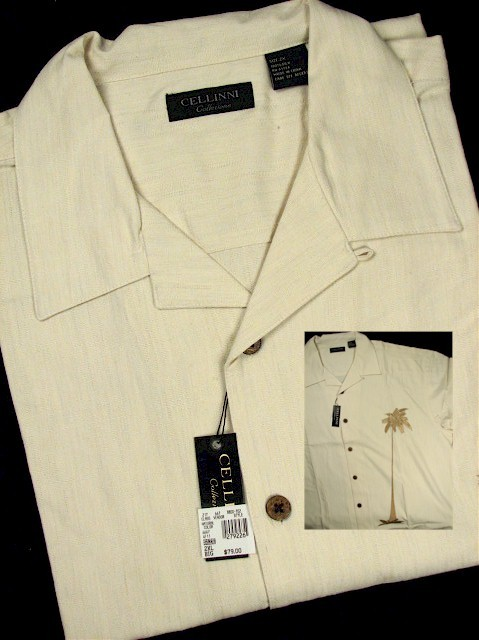 #279202. 4XL BIG. NATURAL Retail $  79.00 Short Sleeve Updated by CELLINI. SILK CAMP PALM TREE Whs A:  2