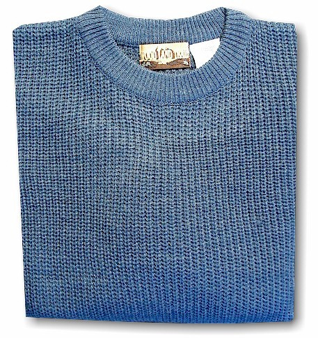 #088576. XL BIG. BLUE Retail $  39.00 Sweaters by WOOD LAND TRAIL. ACRYLIC SHAKER CREW Whs A:  4
