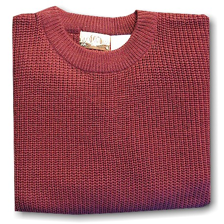 #088521. XL BIG. BURGUNDY Retail $  39.00 Sweaters by WOOD LAND TRAIL. ACRYLIC SHAKER CREW Whs A:  4