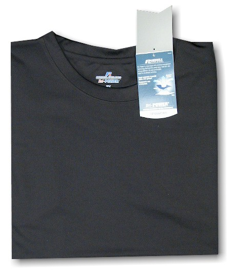 #131027. 6XL BIG. BLACK Retail $  33.00 Dri Power Crew by RUSSELL. DRI-POWER CREW TEE Whs A:  5