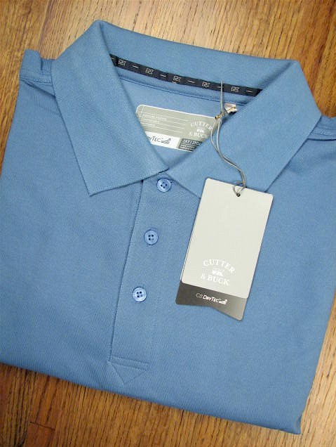 #041166. 2XL BIG. BLUE Retail $  58.00 Short Sleeve Luxury by CUTTER BUCK. DRYTEC CHAMPION POLO Whs A:  2