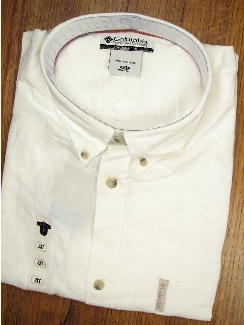 #146548. L TALL. WHITE Retail $  36.00 Short Sleeve Updated by COLUMBIA SPORTSWEAR. CAPE JAKE SOLID Whs A:  1