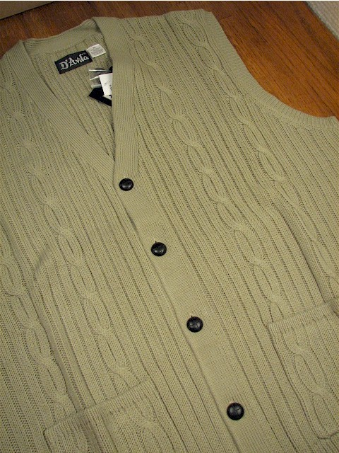 #176941. 2XL TALL. TAUPE Retail $  44.00 Sweaters by D'AVILA. CABLE CARDIGAN VEST