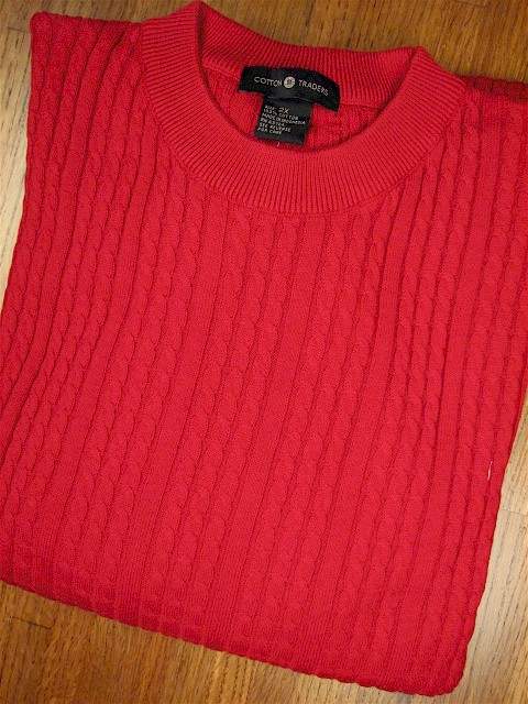 #355542. L TALL. RED Retail $  69.00 Sweaters by CTTON TRADERS. VERTICAL CABLE CREW Whs A:  1