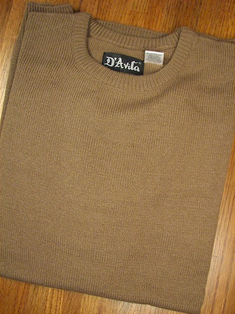 #356541. L TALL. MOCHA Retail $  39.50 Sweaters by D'AVILA. CREW ACRYLIC SOFTOUCH Whs A:  1