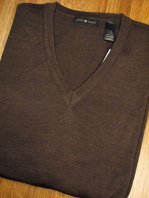 #064684. 2XL BIG. BROWN Retail $  69.00 Sweaters by CTTON TRADERS. MERINO BLEND V-NECK Whs A:  1