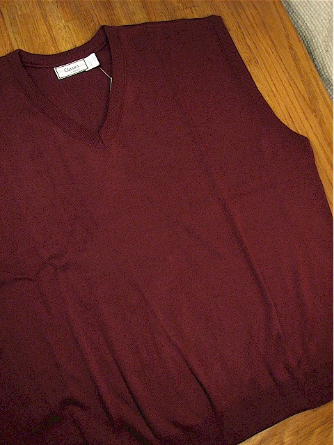 #152903. 2XL TALL. BURGUNDY Retail $  32.00 Sweaters by PALMLAND. INTERLOCK V-NECK VEST