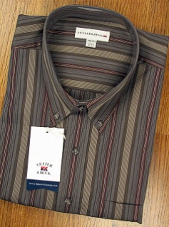 #023432. 2XL BIG. OLIVE Retail $ 100.00 Long Sleeve Cotton by CUTTER BUCK. MALBEC STRIPE