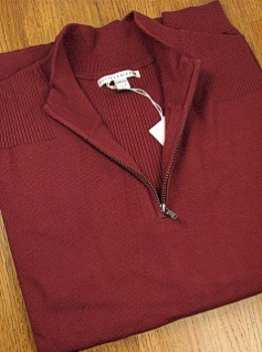 #191892. 2XL BIG. PLUM Retail $  98.00 Sweaters by CUTTER BUCK. LEGEND SUPIMA HALFZIP Whs A:  1