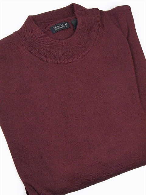 #306182. 4XL TALL. BURGUNDY Retail $  69.00 Sweaters by CELLINI. MOCK MERINO BLEND