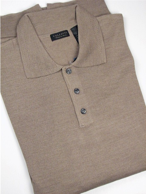 #329042. 4XL TALL. TAUPE Retail $  69.00 Sweaters by CELLINI. POLO MERINO BLEND Whs A:  1