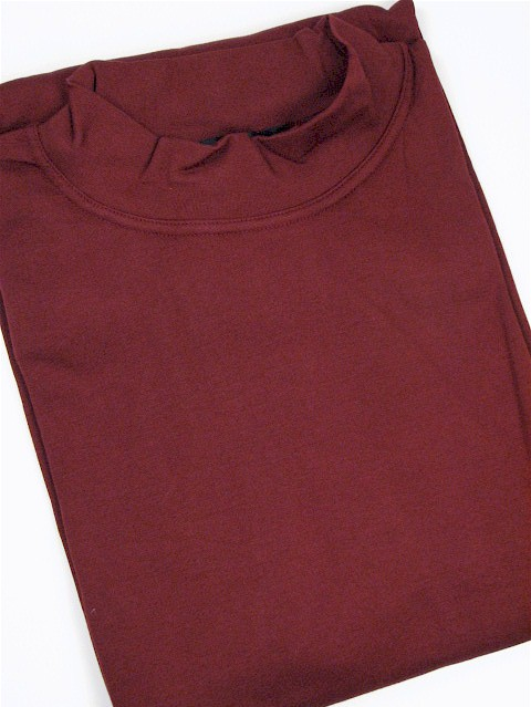 #033761. 2XL BIG. BURGUNDY Retail $  29.50 Long Sleeve by CTTON TRADERS. INTERLOCK MOCK SOLID Whs A:  1