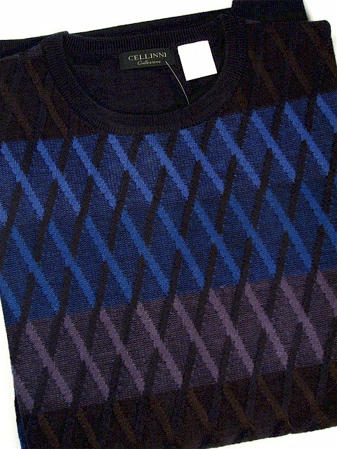 #246352. 4XL TALL. ROYAL Retail $  85.00 Sweaters by CELLINI. CREWNECK DIAMOND Whs A:  1