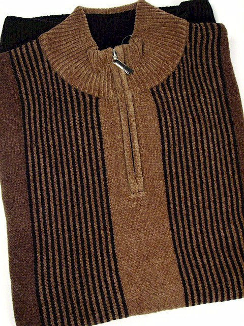#180102. 2XL TALL. OLIVE Retail $  70.00 Sweaters by CELLINI. 1/4 ZIP CHENILLE VERT Whs A:  1