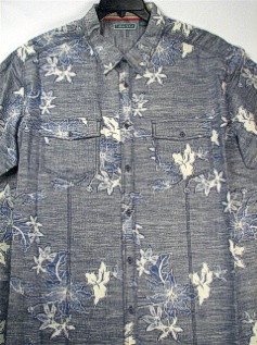 #208242. 2XL TALL. INDIGO Retail $  75.00 Short Sleeve Tropical by CUBAVERA. 2-POCKET FLORAL REVER Whs A:  4