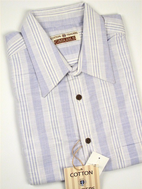 #224350. 3XL BIG. LILAC Retail $  48.00 Short Sleeve Updated by CTTON TRADERS. CT CASUAL LINEN STRIP