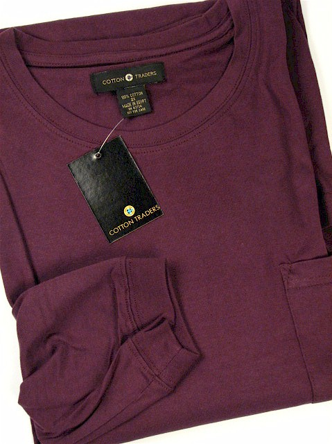 #048152. 2XL BIG. PLUM Retail $  25.00 Long Sleeve Tee by CTTON TRADERS. POCKET TEE LONGSLV Whs A:  5