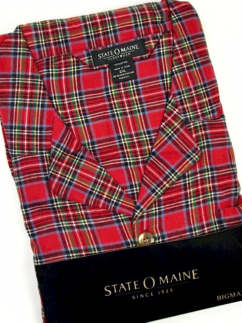 #003300. 2XL BIG. RED Retail $  45.00 Pajamas by STATE-O-MAINE. FLANNEL PLAID PAJAMA Whs A:  1